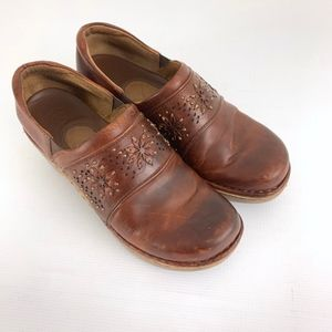 Ariat Brown Floral Leather Clogs Shoes
